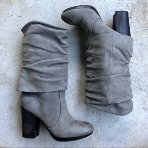 Vince Camuto gray Leather mid calf slouchy boots